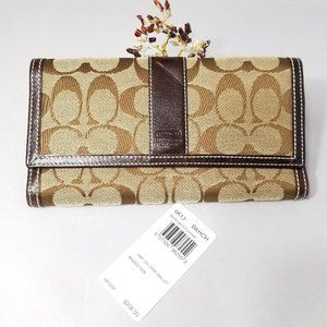 COACH HAMPTON 6K13 KHAKI/CHOCOLATE LOGO WALLET
